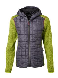 Ladies Knitted Hybrid Jacket James & Nicholson - kiwi melange anthracite melange