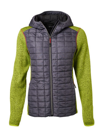 Ladies Knitted Hybrid Jacket James & Nicholson - kiwi melange anthracite melange