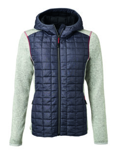 Ladies Knitted Hybrid Jacket James & Nicholson - light melange anthracite melange