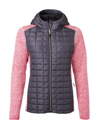 Ladies Knitted Hybrid Jacket James & Nicholson - pink melange anthracite melange