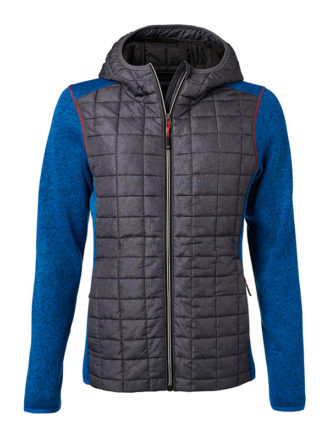Ladies Knitted Hybrid Jacket James & Nicholson - royal melange anthracite melange