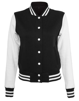 Ladies Sweat College Jacket Build Your Brand - black white