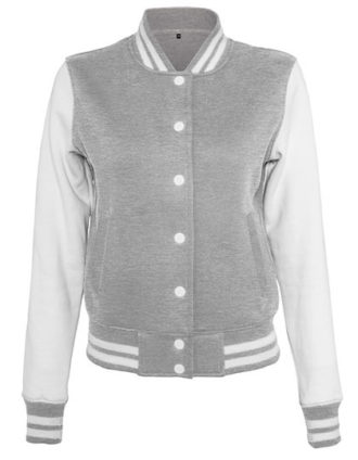 Ladies Sweat College Jacket Build Your Brand - grey heather white