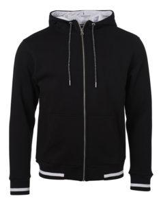Mens Club Sweat Jacket James and Nicholson - black white