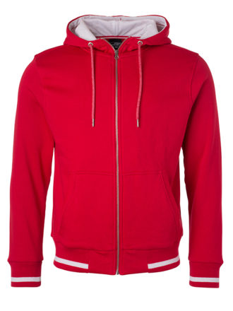 Mens Club Sweat Jacket James and Nicholson - red white