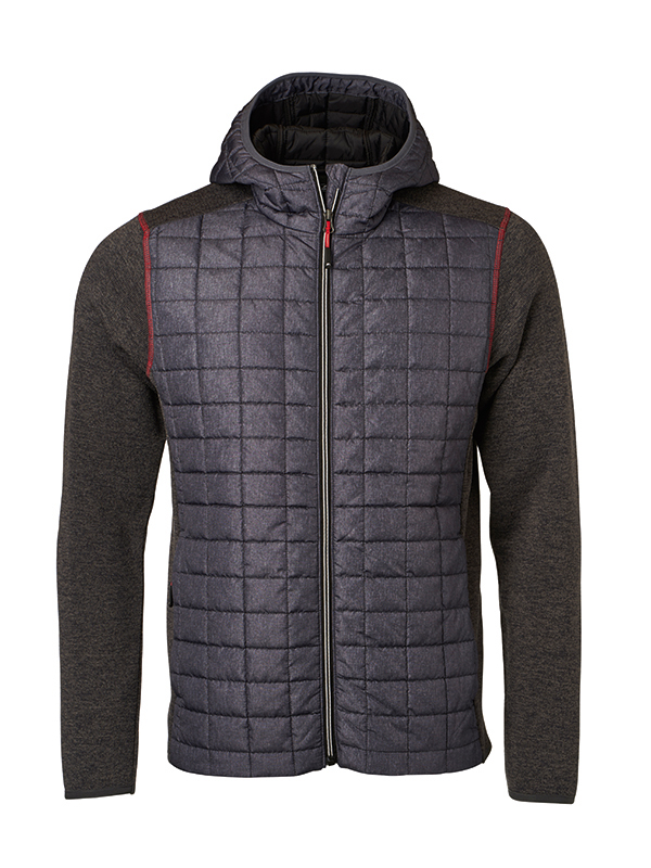 Mens Knitted Hybrid Jacket James & Nicholson - grey melange anthracite melange