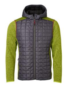 Mens Knitted Hybrid Jacket James & Nicholson - kiwi melange/anthracite melange
