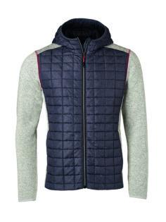 Mens Knitted Hybrid Jacket James & Nicholson - light melange/anthracite melange