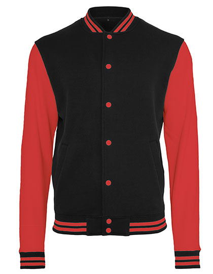 Sweat College Jacket Build Yor Brand - black red