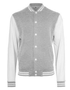 Sweat College Jacket Build Yor Brand - grey heather white