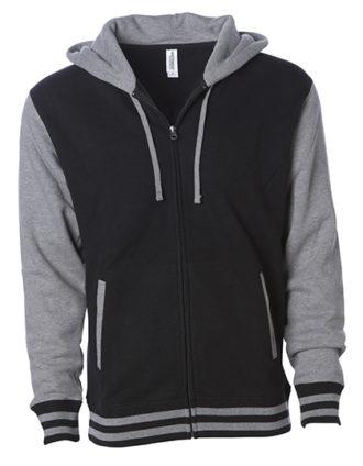 Unisex Heavyweight Vasity Zip Hood Independent - black grey heather