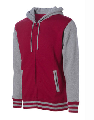 Unisex Heavyweight Vasity Zip Hood Independent - cardinal grey heather