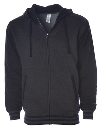 Unisex Heavyweight Vasity Zip Hood Independent - charcoal black