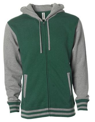 Unisex Heavyweight Vasity Zip Hood Independent - green grey heather