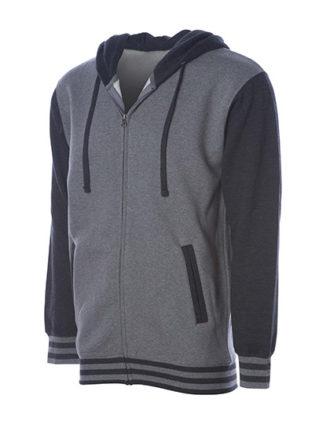Unisex Heavyweight Vasity Zip Hood Independent - grey heather charcoal