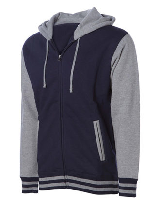 Unisex Heavyweight Vasity Zip Hood Independent - navy grey heather