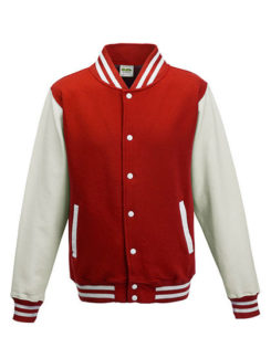 Varsity Jacket Just Hoods - fire red/white