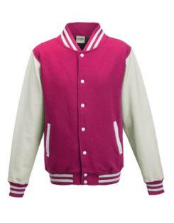 Varsity Jacket Just Hoods - hot pink/white