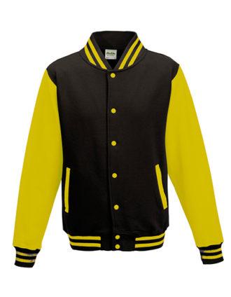 Varsity Jacket Just Hoods - jet black/sun yellow