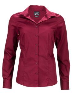 Ladies Business Shirt Long Sleeved James & Nicholson - wine