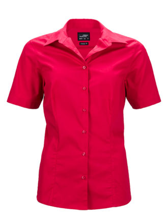 Ladies Business Shirt Short Sleeved James & Nicholson - red