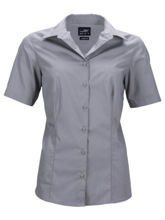 Ladies Business Shirt Short Sleeved James & Nicholson - steel grey