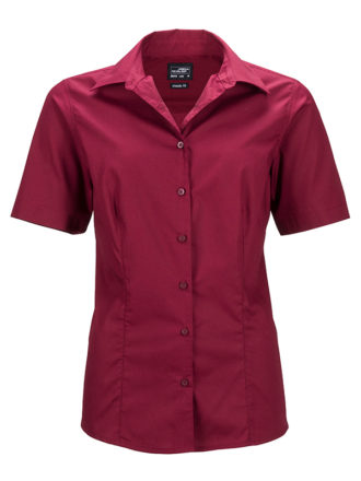 Ladies Business Shirt Short Sleeved James & Nicholson - wine