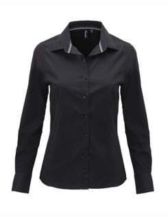 Ladies Long Sleeve Fitted Friday Bar Shirt Premier - black