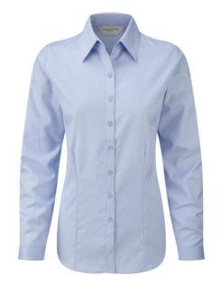 Ladies Long Sleeve Herringbone Shirt Russel - light blue