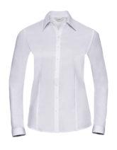 Ladies Long Sleeve Herringbone Shirt Russel - white