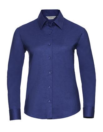 Ladies Long Sleeve Oxford Shirt Russel - aztec blue