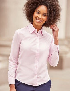Ladies Long Sleeve Oxford Shirt Russel - classic pink