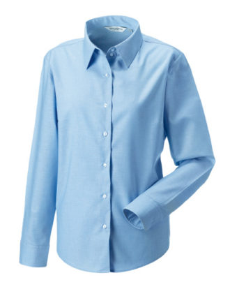 Ladies Long Sleeve Oxford Shirt Russel - oxford blue