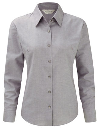 Ladies Long Sleeve Oxford Shirt Russel - silver