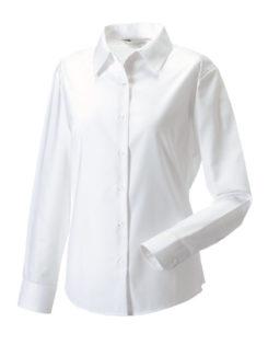Ladies Long Sleeve Oxford Shirt Russel - white