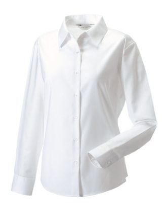 Ladies Long Sleeve Oxford Shirt Russel - white