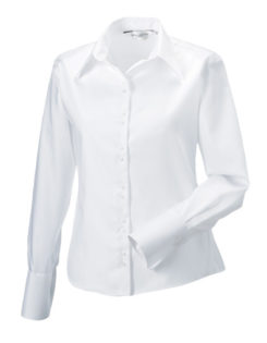 Ladies Long Sleeve Ultimate Non Iron Shirt Russell - white