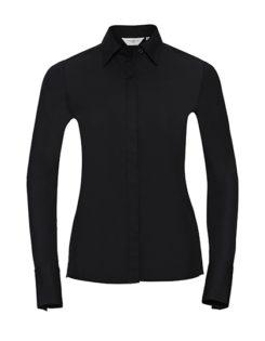 Ladies Long Sleeve Ultimate Stretch Shirt Russel - black - Kopie