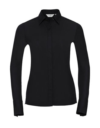 Ladies Long Sleeve Ultimate Stretch Shirt Russel - black - Kopie