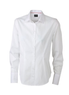 Ladies Long Sleeved Blouse James & Nicholson - white