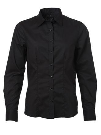 Ladies Shirt Longsleeve Oxford James & Nicholson - black