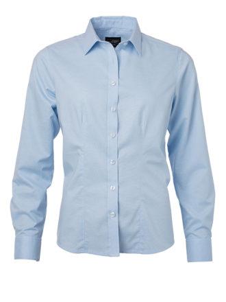 Ladies Shirt Longsleeve Oxford James & Nicholson - light blue