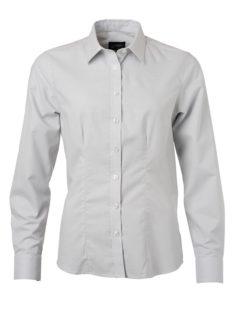Ladies Shirt Longsleeve Oxford James & Nicholson - silver