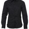 Ladies Shirt Longsleeve Poplin James & Nicholson - black