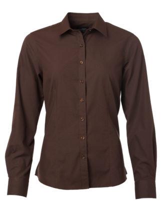 Ladies Shirt Longsleeve Poplin James & Nicholson - brown