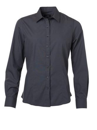 Ladies Shirt Longsleeve Poplin James & Nicholson - carbon