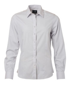 Ladies Shirt Longsleeve Poplin James & Nicholson - light grey