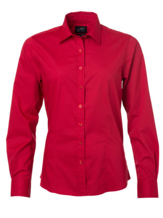 Ladies Shirt Longsleeve Poplin James & Nicholson - red