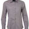 Ladies Shirt Longsleeve Poplin James & Nicholson - steel grey