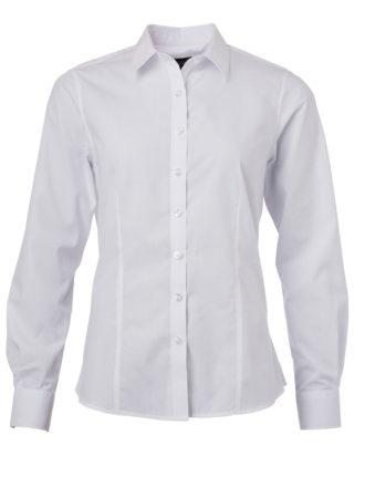 Ladies Shirt Longsleeve Poplin James & Nicholson - white
